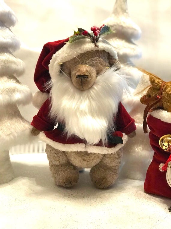 Ooak artist Santa Claus bear. Size large. Has german growler. Ready to ship
