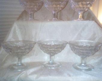 Mid Century Vintage Fostoria American Crystal dessert/fruit bowls (set of six)