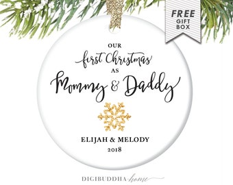 First Christmas as Mommy and Daddy Ornament White & Gold Ornament New Baby Ornament New Parents Ornament Mommy Ornament New Mom and Dad Gift