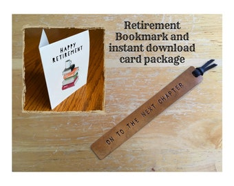 Leather Bookmark Retirement Gift and Card Package Graduation Gift On to the Next Chapter College Student Gift back to school