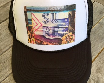 Trucker Hats, SURF BEACONS, CA, limited ed. Encinitas, hat, w/Pin Back button,One Size Fits All, foam trucker hat, beach, Surf, Best Seller