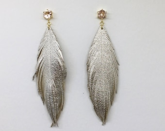 Champagne gold LEATHER feather earrings leather feather earrings leather feathers with stunning blush champagne colored studs