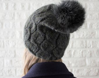 Fur pom pom knit hat Green Blue, Alpaca wool hat, Slouch beanie, Wife christmas gift, Fox fur, Fleece hat, Cable knit hat, Wool hat women