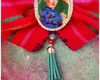 Frida inspired brooch bowtie