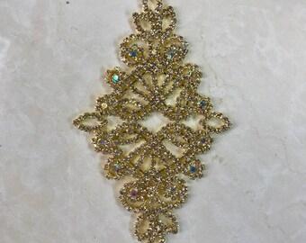 Diamond Shaped Crystal rhinestone applique, wedding applique, Wedding Sash