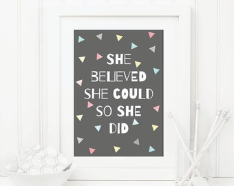 She Believed She Could Print Digital File/Printable/Instant Download