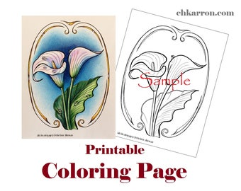 Coloring Page - Calla Lilies illustration Instant Download Printable File