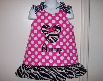 Hot Pink Dot Applique Monogram Dress with Zebra Ruffle 3 mo 6 mo 9 mo 12 mo 18 mo 24 mo 2T 3T 4T 5T 6 6X