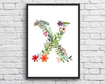"""Personalized nursery wall art, Floral monogram letter X, Nursery monogram, Nursery decor, Printable letters, Personalized gift. """"X"""""""