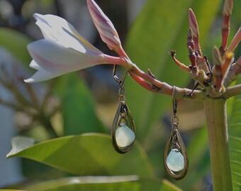 Aqua Chalcedony Gemstone earrings Chandelier earrings Boho brass earrings gemstone jewelry