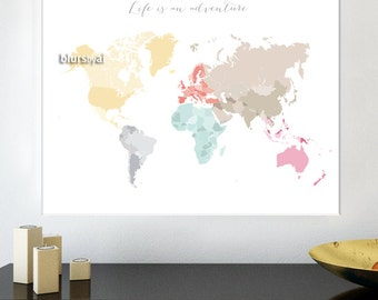 Blursbyaishop etsy 30x24 24x18 printable world map diy travel pinboard map pastels world map gumiabroncs Image collections