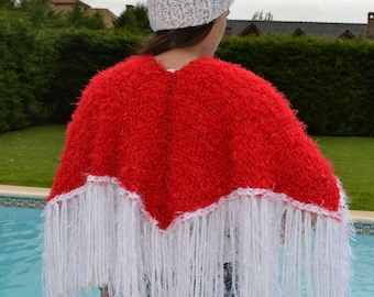 Handwoven Shrug /hand knit Shawl/ Red Wrap/hand knit capelet /Red poncho/women/handwooven poncho/Christmas poncho/Santa poncho