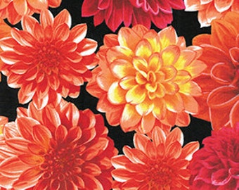 Dahlia Flowers Red Black Benartex Fabric 1 yard