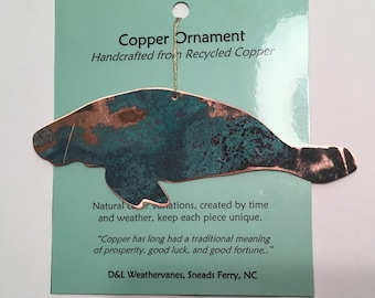 Manatee Ornament - Handcrafted out of Recycled Copper