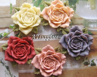 37mm Large Rose Cabochon Resin flower (CA812) - Choose your colour