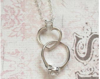 Silver Ring Holder Necklace - Open Heart Ring Keeper Necklace - Wedding Ring Holder Necklace - Engagement Ring Holder - Ring Keeper Necklace