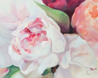"""Original Oil Painting Pink Peony Floral Painting Flower Painting Flower Art Bouquet Flowers Roses Peonies Abstract Floral Canvas 20""""x28"""""""