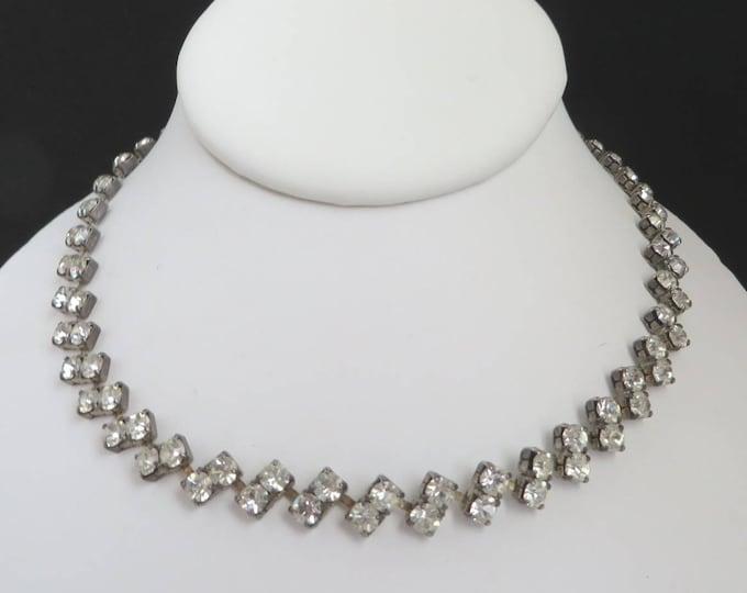 Rhinestone Choker - Vintage Linked Rhinestone Necklace, Mid Century Bridal Jewelry