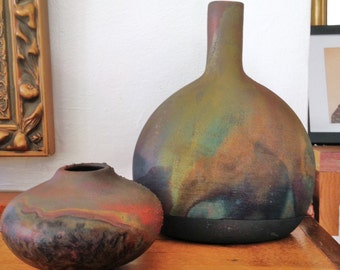 TWO Raku Pots Vases via the 80s Wabi-Sabi