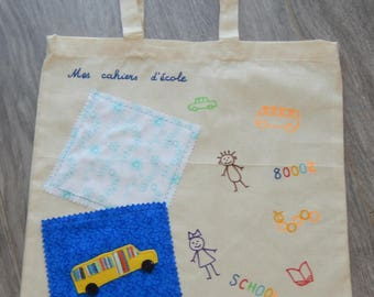 Bag to bring the customizable school notebooks