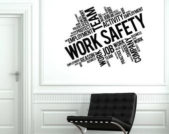 Work Safety Vinyl Wall Decal Words Cloud Office Decoration Stickers Mural (#2659di)