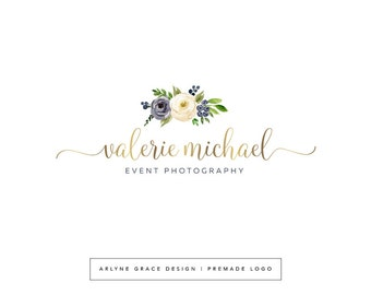 Premade Logo - Watercolor Logo - Logo Design - Photography Logo - Flower Logo - Floral Logo - Boutique Logo - Blog Header - Business Logo