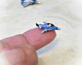 Micro Miniature Jet Aircraft Dollhouse Scale Toy for Boy Artisan Sculpture Detail Painted
