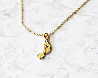 Music note necklace, eighth note necklace, music charm necklace, music pendant necklace