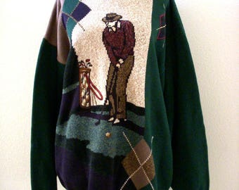 Vintage 80s Golf Sweater - Men's Novelty Golf Sweater - Hunter Green Golfer Pullover Sweater - Hipster Indie - Mens Size X Large