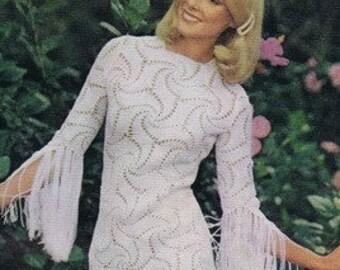 CROCHET DRESS PATTERN Crochet wedding dress pattern crochet maxi dress crochet party dress pattern Vintage 70s