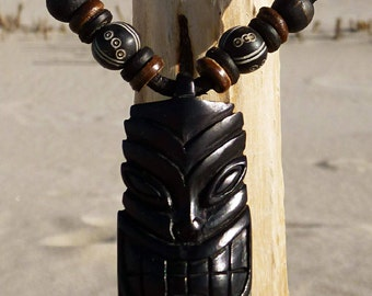 Surfer Chain Leather Necklace Tiki Necklace Surfer Tiki Pendant Hardwood ©HIMUWAVESde