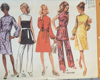 """Simplicity 9125, Size 20, Misses' Dress or Tunic and Pants Pattern, UNCUT, Bust 42"""", Waist 33"""", Retro, Vintage 1970, High Fashion"""