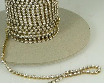 1 ft Czech Crystal Rhinestone Chain 18pp Raw Brass Setting