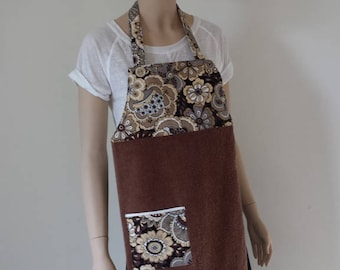 Adult Apron, Bib Apron, Towel Apron, No Strings, Earth Tone Floral, Brown, All Cotton