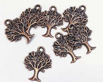 Bulk 100 pcs of Antique copper Tree of life pendant 17x22mm