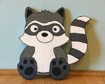 Freddie the Raccoon wooden art