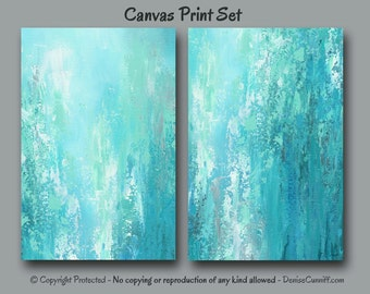 Teal turquoise grey green blue, Abstract painting - Canvas print set, Large wall art diptych huge, Home decor, Office, Bedroom, Dining room
