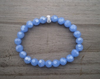 Faceted Blue Irridescent Glass Stretch Bracelet