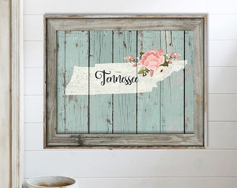 SALE-Farmhouse Barn Wood Tennessee State With State & Flowers Print-Wall Art-Home Decor-Gallery Wall-Typography-Home