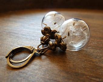Dandelion Earrings With Geniune Dandelions