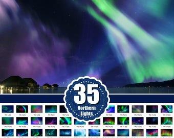 35 Northern lights Photo Overlays, Photoshop Overlays, backdrop background, night sky overlay, Starry Sky, Aurora Borealis, jpg file