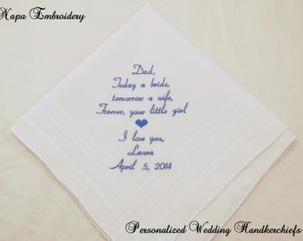 Wedding Handkerchief Gift for Father of the Bride Personalized Wedding Embroidered Hankerchief for Dad by Napa Embroidery