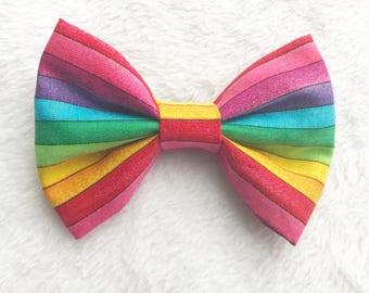 Rainbow hair bow. Rainbow bow. Rainbow print. Rainbow headband. Rainbow baby. Nylon headband. Hair bows.
