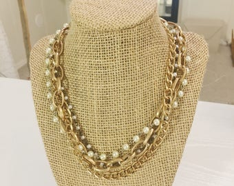 Multi-strand gold chain statement necklace