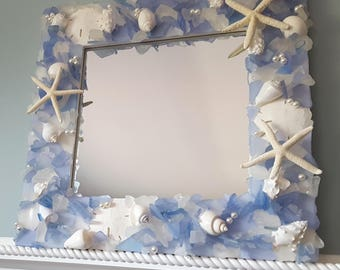 Sea Glass Mirror, Beach Decor Seashell Mirror, Nautical Decor Beach Glass Mirror, Coastal Decor Shell Mirror, Sea Glass Wall Mirror