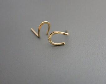 Gold Horseshoe Earrings  Horseshoe Stud Earrings 14K Gold Horseshoe Post Earrings