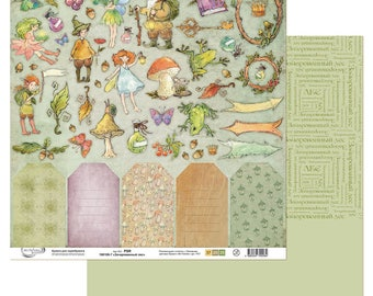 Scrapbooking paper by sheet ENCHANTERED FOREST FAIRYTALE