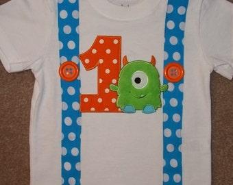 Monster  Birthday Suspender Shirt
