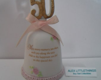 Vintage Lefton 50th Anniversary Bell 1986 Collectible Porcelain Cake Topper
