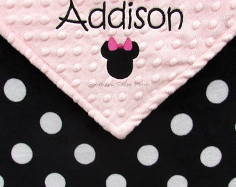 Baby Girl or Baby Boy Name Blanket, Minnie Mouse Inspired Blanket, Personalized Baby Girl Blanket, Minky Blanket for Baby Girls or Baby Boys